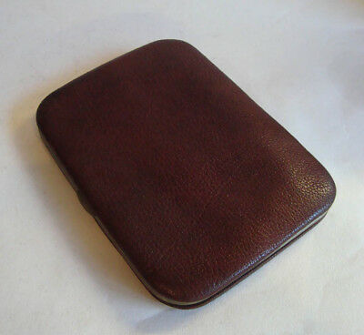 Lovely Antique Leather & Silver Nickel Plated Wallet Cigar Cheroot Case