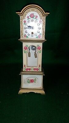 "Vintage Miniature working wind up grandfather clock 10"" Tall"