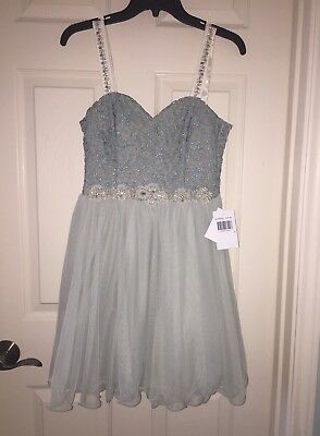 homecoming dress, short, sea foam green, embroidered, new, never worn size 7