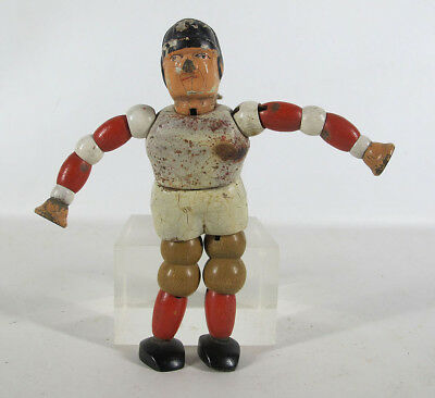 Scarce! Antique 1929 Twistum Toys Jointed Wood & Composition Football Player yqz