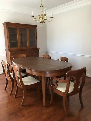 Craftique Dining Room Set with Table Six Chairs Buffet & Hutch