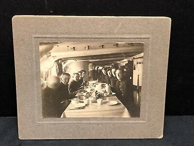 Cabinet Card Photo Of U.S. Marines Inside Ship Eating