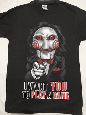Saw Horror Movie Jigsaw Puppet I Want You to Play a Game T-Shirt