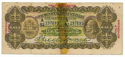 Australia 10 Shilling Half Sovereign 1928 Riddle Heathershaw R. 07  RARE Note