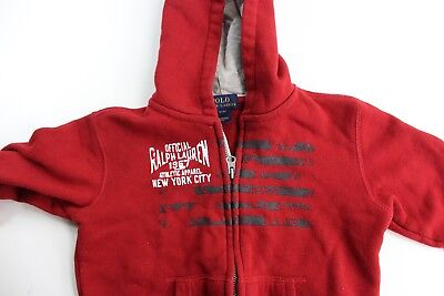 TODDLER Polo Ralph Lauren Recent Red Zippered Hoodie Sweater TODDLER 3/3T