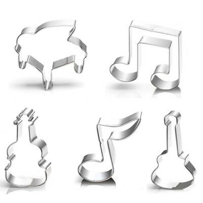 5Pcs Music Style Stainless Steel Music Cookie Cutter Mould Tool 6A