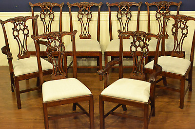 8 Leighton Hall Traditional Straight Leg Mahogany Chippendale Dining Chairs