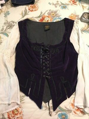 Women's M Costume Top, Medieval Top, Purple With White Sleeves