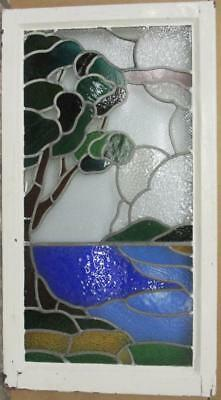 """LARGE OLD ENGLISH LEADED STAINED GLASS WINDOW Stunning Nature Scene 20"""" x 36"""""""