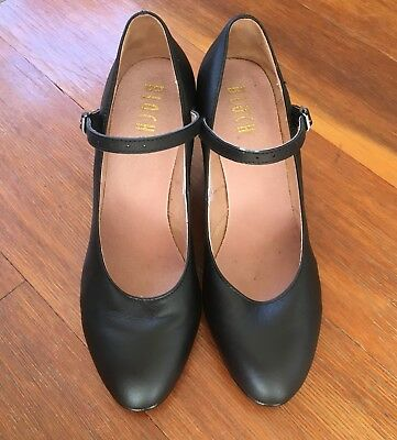 LADIES FLAMENCO/ CABARET LEATHER DANCE SHOES, Black, Size 7.5