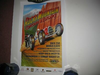 2008 Mile High Concours d Elegance Tour Poster Signed Goebel Vincent Motorcycle