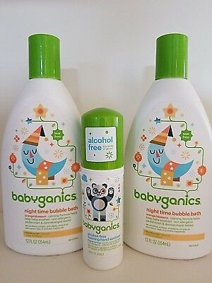 2 Babyganics Bubble Bath Night Time Orange Blossom 12 Oz Each + BONUS Sanitizer