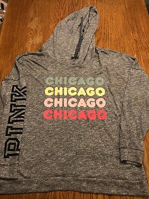 Victoria's Secret Women's Large Pullover Hooded Sweatshirt Gray Chicago Spellout
