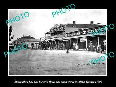 OLD LARGE HISTORIC PHOTO OF STRATHALBYN SA, VIEW OF ALBYN Tce & SHOPS c1900
