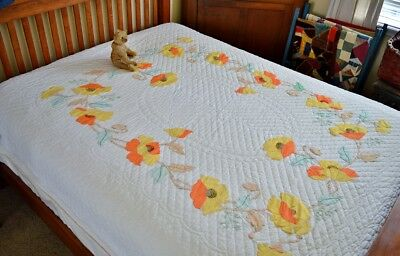Antique / Vintage Hand Stitched Poppy Applique Quilt