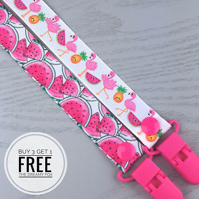 Dummy Clip pacifier chain dummie binky baby soother holder gift clips flamingo