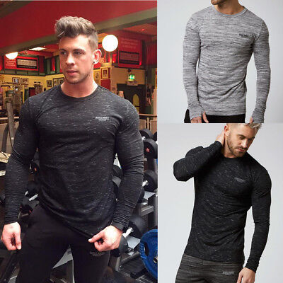 Muscle Mens Slim Fit O Neck Long Sleeve  Tee T-shirt Casual Tops Blouse Fashion