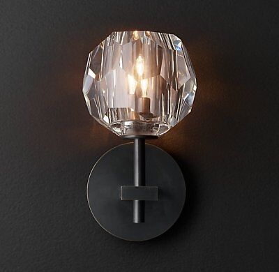 Restoration Hardware Boule Crystal Single Sconce Light Fixture Bronze NEW