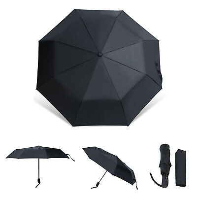 Black Umbrella Compact Folding Umbrella Auto Open Close Waterproof Windproof UV