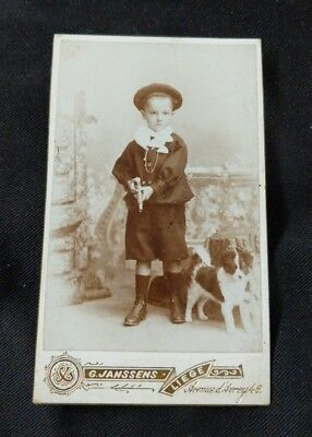 Antique Cabinet Card Photo Child Holding Toy Gun &  Dog By His Side - France