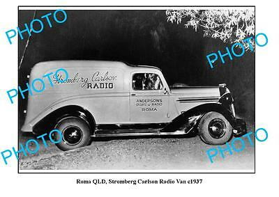 OLD LARGE PHOTO, ROMA QUEENSLAND, STROMBERG CARLSON RADIO VAN c1937