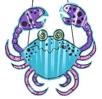 Whimsical Fun Big Maryland Blue Crab Tin Metal 20 Inch Wall Hanging Decor