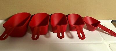 Tupperware Measuring Cups. New. Set Of 5. Color: Red