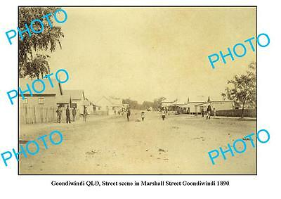 OLD LARGE PHOTO, GOONDIWINDI QUEENSLAND, VIEW OF MARSHALL STREET c1890
