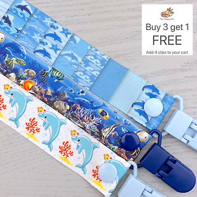 Dummy Clip pacifier chain dummie binky baby clips gift soother holder dolphins