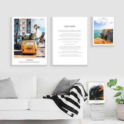 Scandinavian Travel Bus Landscape Poster Nordic Life Quote Wall Art Canvas Print