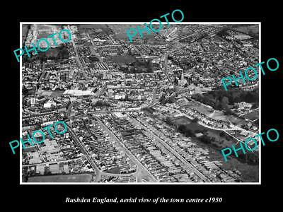 OLD LARGE HISTORIC PHOTO OF RUSHDEN ENGLAND, AERIAL VIEW OF THE TOWN c1950 1