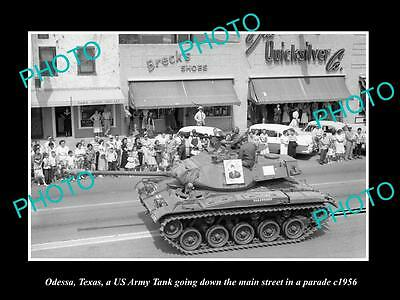 OLD LARGE HISTORIC PHOTO OF ODESSA TEXAS, US ARMY TANK IN MAIN St PARADE c1956