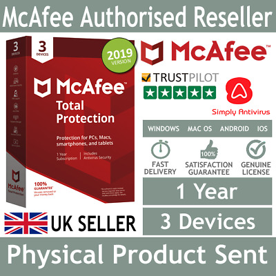 McAfee Total Protection 2019 3 Multi Devices 1 Year - Physical Delivery by Post