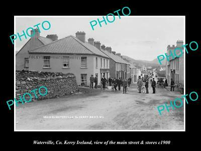 OLD LARGE HISTORIC PHOTO OF WATERVILLE KERRY IRELAND, MAIN ST & STORES c1900