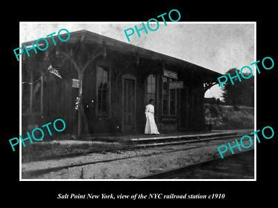 OLD LARGE HISTORIC PHOTO OF SALT POINT NEW YORK, THE NYC RAILROAD STATION c1910