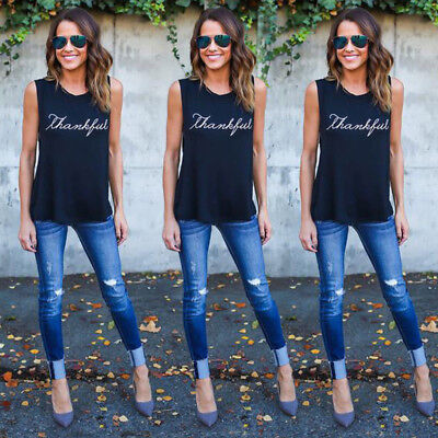 Women Fashion Tops The New Letter Printing Vest Casual Sleeveless T-shirt 6A