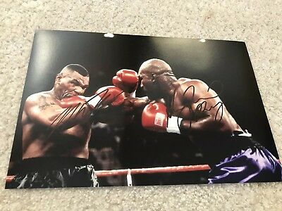 Mike Tyson & Evander Holyfield Hand Signed Dual Boxing Picture