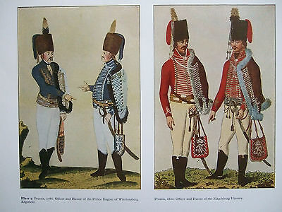 Vintage Military Print-  Prussia 1786/1800-Officers And Hussars