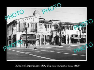 OLD LARGE HISTORIC PHOTO OF ALHAMBRA CALIFORNIA, VIEW OF THE DRUG STORE c1930