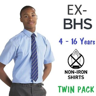 Ex BHS Boys School Shirt Twin-Pack Sky Blue Short Sleeved Non Iron Ages 4-16