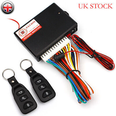 UK Universal Car 2 Remote Central Door Locking Kit Keyless Vehicle Entry System
