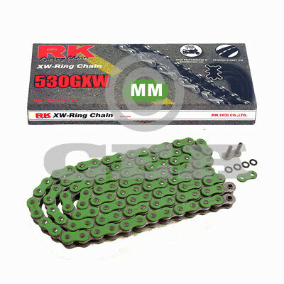 Motorcycle Chain Green XW Ring RK MM530GXW with 116 Rollers and Rivet Link Open