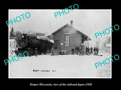 OLD LARGE HISTORIC PHOTO OF DRAPER WISCONSIN, VIEW OF THE RAILROAD DEPOT c1920