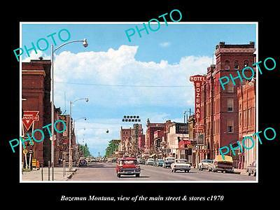 OLD LARGE HISTORIC PHOTO OF BOZEMAN MONTANA, THE MAIN STREET & STORES c1970