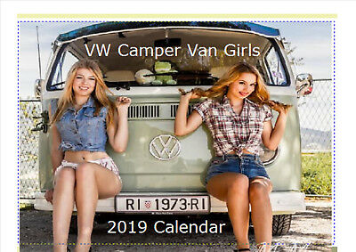 VW Camper Girls Calendar 2019 Desktop A5
