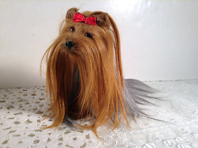 Lovely All Long Hair Yorkie 8 Realistic Dog Pooch Figure With Red