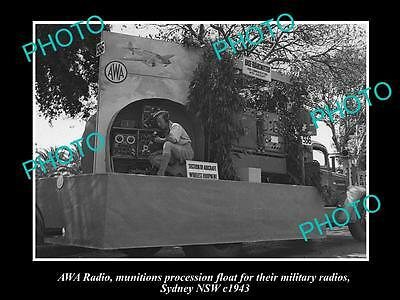 OLD LARGE HISTORIC PHOTO OF THE AWA RADIO, MILITARY INSTRUMENTS FLOAT, c1943 1