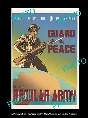 Old Large Historic Photo Of Wwii Australian Military Poster, The Un Regular Army