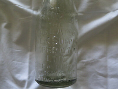 ADELAIDE MILK SUPPLY COOPERATIVE LTD SOUTH AUSTRALIA ONE PINT MILK BOTTLE 1930s