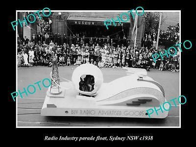 OLD LARGE HISTORIC PHOTO OF THE RADIO INDUSTRY PARADE FLOAT, SYDNEY NSW c1938